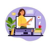 conceito de aprendizagem online. professor no quadro-negro, vídeo aula. estudo a distância na escola. ilustração vetorial. estilo simples. vetor