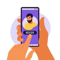 mãos segurando um smartphone com um perfil de mídia social de homem ou conta de usuário. indique um amigo, seguindo o conceito para adicionar. ilustração vetorial. apartamento. vetor