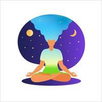mulher meditando com a natureza e os cabelos presos. conceito de meditação. mulher sentada em posição de lótus, praticando meditação. em pose de lótus. ilustração vetorial em estilo simples. vetor
