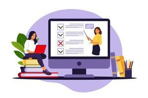 conceito de exame online na internet. mulher sentada perto de pesquisa de formulário online no laptop. questionário, aprendizagem na web, votação eletrônica. ilustração vetorial. vetor