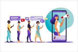 ilustração vetorial em estilo simples com personagens - conceito de marketing influenciador - serviços de promoção de blogueiros e produtos para seus seguidores online vetor