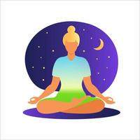 mulher meditando sobre o fundo da natureza. conceito de meditação. mulher sentada em posição de lótus, praticando meditação. ilustração vetorial em estilo simples. vetor