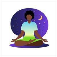 mulher africana meditando com o fundo da natureza e os cabelos presos. conceito de meditação. mulher sentada em posição de lótus, praticando meditação. em pose de lótus. ilustração vetorial em estilo simples. vetor