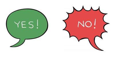 ilustração em vetor desenho animado de bolha do discurso com sim e bolha de exclamação com não