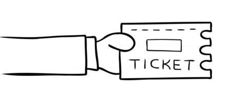 ilustração vetorial dos desenhos animados do homem segurando o ingresso vetor