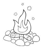 ilustração em vetor desenho animado de fogueira de pedras para lenha e fogo ardente