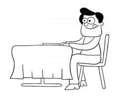 desenho animado homem com fome no restaurante e esperando o jantar ilustração vetorial vetor