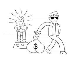 ilustração vetorial de homem rico dando um saco de dólares a um sem-teto vetor