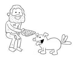 desenho animado sem-teto compartilhando uma fatia de pizza com ilustração vetorial de cachorro vetor