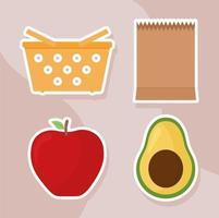 sacos e frutas vetor