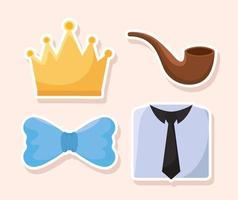 quatro ícones pai vetor