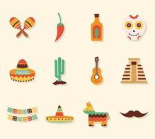 doze ícones mexicanos vetor