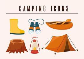letras de ícones de acampamento vetor
