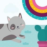 gato e cacto vetor