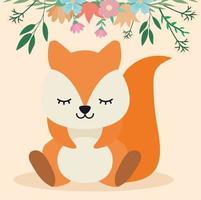 esquilo fofo sentado sob as flores vetor