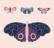conjunto de borboletas em um fundo rosa claro vetor