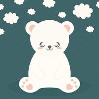 urso e nuvens vetor