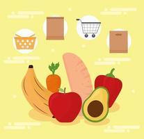 ícones de frutas frescas vetor