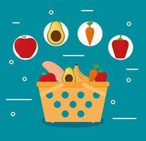 cesta e comida vetor