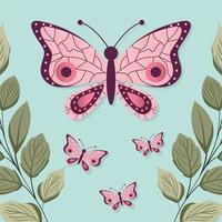 conjunto de borboletas com uma cor rosa vetor