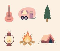 ícone de conjunto de acampamento vetor