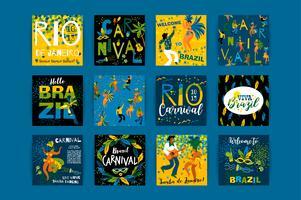 Carnaval do Brasil. Modelos de vetor para o conceito de carnaval e outros usuários