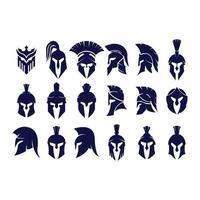 vetor de conjunto de capacete guerreiro