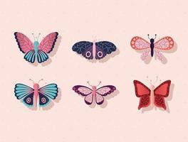 pacote de borboletas em um fundo rosa vetor