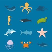 conjunto de ícones de vida marinha em um fundo azul vetor