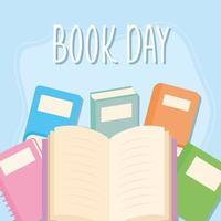 letras do dia do livro e conjunto de ícones de livros em um fundo azul vetor