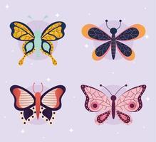 pacote de borboletas em fundo roxo vetor