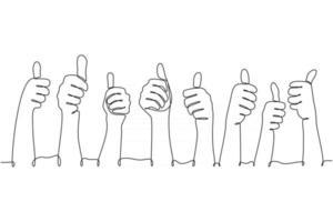 mão de desenho de linha contínua mostrando ilustração vetorial de polegar vetor