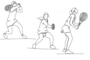 desenho de linha contínua de ilustração vetorial de jogador de tênis vetor
