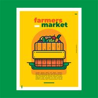 Vetor de panfleto de mercado de agricultores