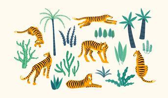 Conjunto de vestor de tigres e folhas tropicais.