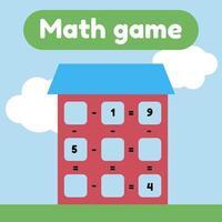 ilustração vetorial. jogo de matemática para crianças em idade pré-escolar e escolar. conte e insira os números corretos. subtração. casa com janelas. vetor