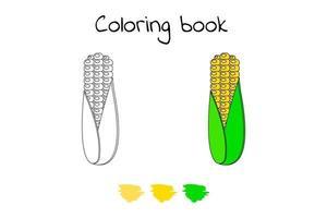 ilustração vetorial. jogo para crianças. vegetal. colorir milho vetor