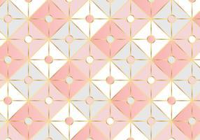 Fundo geométrico de padrão quadrado ouro rosa vetor