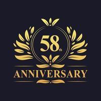 Projeto do 58º aniversário, luxuoso logotipo de aniversário de 58 anos de cor dourada. vetor