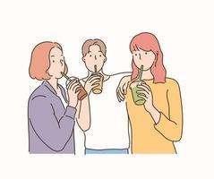 amigos segurando bebidas na mão e bebendo com canudinhos. mão desenhada estilo ilustrações vetoriais. vetor