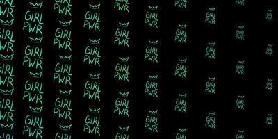 fundo vector verde escuro com símbolos de mulher.