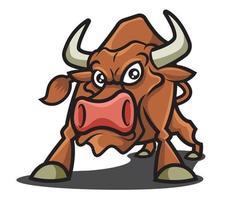 personagem mascote do touro louco marrom vetor