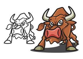 conjunto de mascote de vetor de touro bravo com nariz vermelho