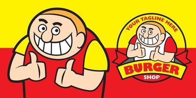 desenho animado sorridente gordo com dentes grandes mostra o personagem mascote 2 grande polegar ups vetor