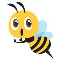 desenho plano desenho bonito abelha polegar para cima com expressão animada vetor