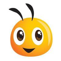 vetor de mascote de cabeça de abelha fofa para fazenda ou mascote de comida natural saudável
