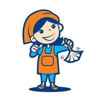 bela empregada de limpeza segurando o espanador. mãe forte e dona de casa confiante vetor
