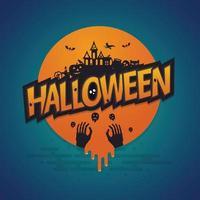 pôster de lua cheia de halloween. ilustração vetorial vetor