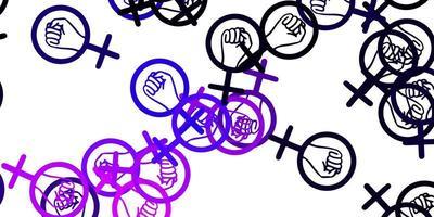 padrão de vetor rosa claro roxo com elementos do feminismo.