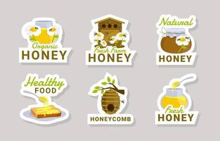 coleção de adesivos de abelha de mel vetor